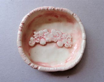 Pastel pink lace textured ceramic trinket dish, earthenware pottery ring holder jewelry catcher bowl, soap holder, Mother's day gift