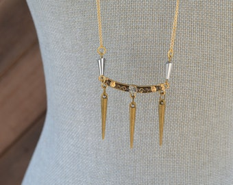 CLOSEOUT Long Gold Spike Necklace - Layered Gold Necklace - Long Delicate Gold Necklace - Long Chain Necklace - Layer Necklace