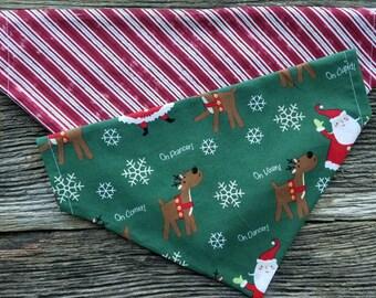 Christmas Dog bandana santa, rudolph and stripes reversible over the collar