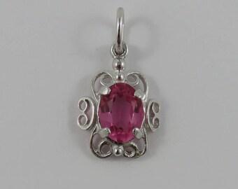 Pink October Birthstone Sterling Silver Vintage Charm For Bracelet