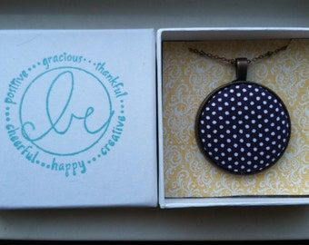 Navy with White Dots Pendant Necklace