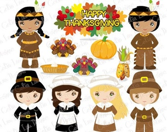 Thanksgiving Clipart, Turkey Clipart, Pilgrim clipart, Indian clipart,  Fall clipart,Harvest clipart(CG086)/ INSTANT DOWNLOAD