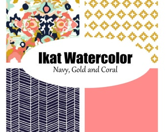 Custom Crib Bedding-3 piece-Ikat Watercolor, Navy, gold and coral
