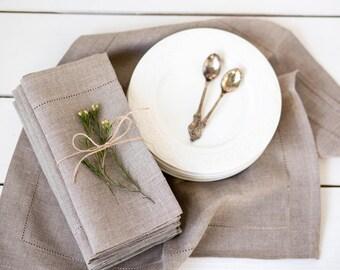 Rustic linen napkins set of 4, Easter napkins, Easter table decor, Hemstitched napkin cloths, Natural linen napkin cloths, Party napkins