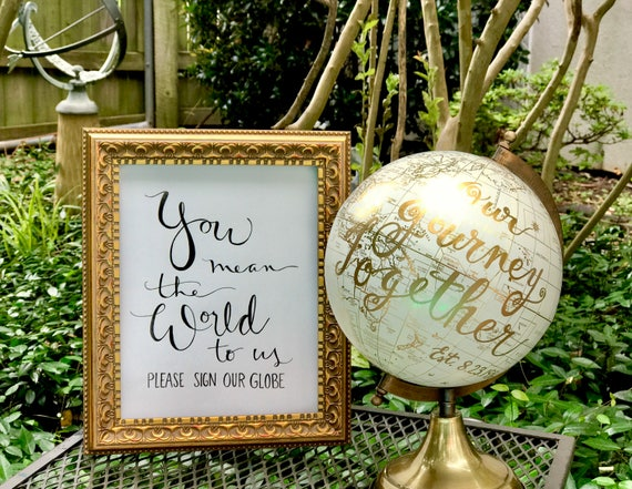 You Mean the World to Us ~ Please Sign Our Globe Art Print 5x7 or 8x10 - PRINT ONLY - (Framed print in separate listing in shop)