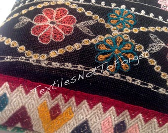 Handloom pillow cover crafted from vintage peruvian woollen skirt, one of a kind
