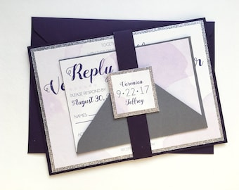 Watercolor Wedding Invitations in Plum and Silver