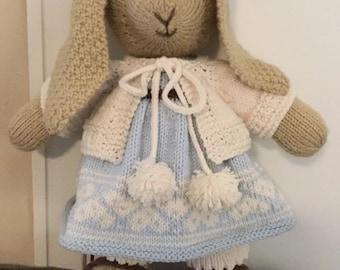 "Handknit Modern Bunny Soft-toy 18 1/2"" tall New"