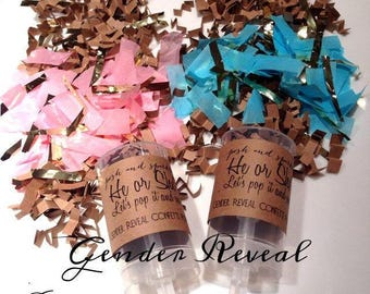 He of She? Gender Reveal Confetti Push-Pop - Boy or Girl - Baby Shower Party Popper