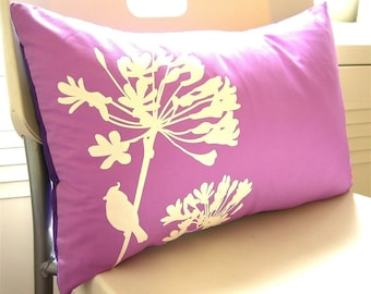 Limited Time Sale Lavender Cardinal on Agapanthus Rectangle Pillow