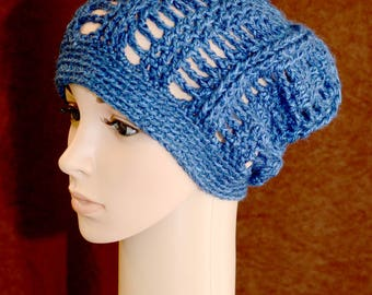 Denim Blue Stained Glass Slouchy Hat