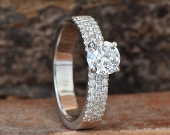 ON SALE !!! Diamond Engagement Ring 1 ct-White Gold halo ring-multistone ring-Bridal Jewelry-Anniversary-1 carat diamond-promise ring