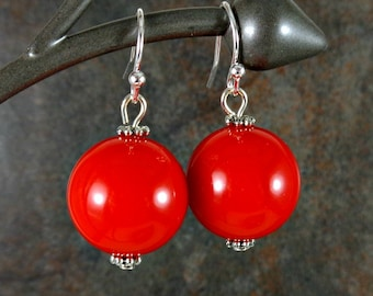Gumball Earrings, Round Bead Earrings, Red, Chunky Earrings, Drop Earrings, Dangle Earrings, Silver, Red Earrings, Ball Earrings, Acrylic