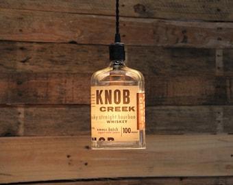 Knob Creek Small Batch Pendant Light - Upcycled Industrial Hanging Light - Handmade x Bottle Light Fixture, Dorm Lighting, Apartment Light