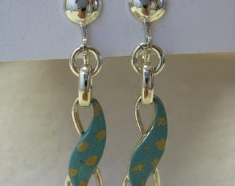 Turquoise Gold Earrings Screw Dangle Vintage