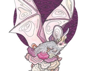 A4 print 'A Fungi-encrusted Lesser Long-eared Bat'