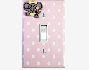 Pink light switch cover for elephant nursery decor