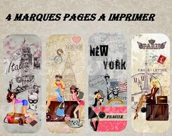 "4 bookmarks to print ""Passport"" paris, London, New York, rome"