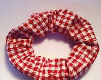 Red and White Gingham Hair Scrunchie
