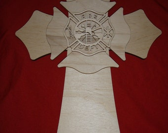 Fireman Maltese Cross Wood Layered Unfinished Wooden Firefighter Crosses