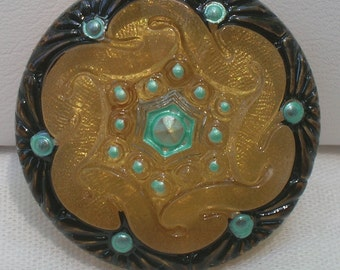 Pinwheel Czech Glass Button