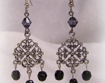 Opera Crystal and Pearl Tudor Renaissance Earrings Jewelry