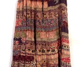 vtg Vini Rayon Crepe Ethnic Skirt Festival Hippy Boho made in India plus OS