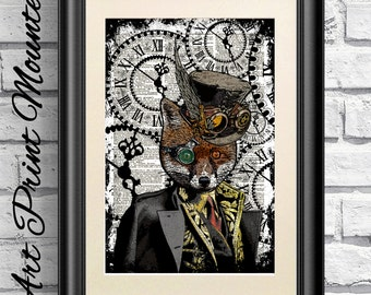 Fox Print, Steampunk Dandy Fox, Dictionary Book Page Print Animal, Hipster Animal. Red Fox Mounted Poster, Steam punk Goggles