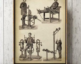 BIZARRE GYMNASTICS PRINT, Men's Physical Training Art Poster, Sport Print, Male Exercises Wall Art, Gym, Fitness Center Decor, Gymnasium