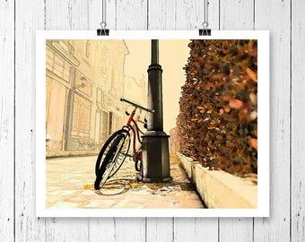 8x10, printable art, bicycle art, bike print, street, European, rustic, cubicle art, cubicle decor, printable art, digital download