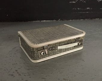 Mid Century small suitcase - children luggage - retro gray bag - 50s Germany