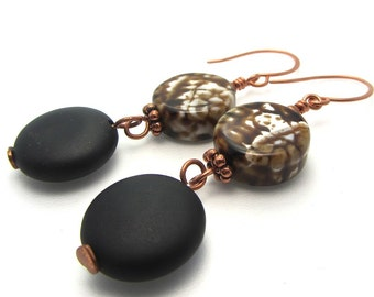 Long dangle EARRINGS black onyx - agate - chocolate freshwater pearls - copper - with matching necklace and bracelet available