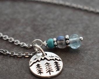 Mountain Necklace, Tiny Mountain, Mountain Pendant, Kyanite Necklace, Peridot Necklace, Mountain Jewelry, Stocking stuffer, Mountain Gift