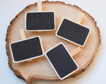 Blackboard Wood Pegs - Chalkboard Clips - Wood Pins - Clothespin - 4 pieces
