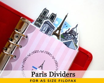 A5 Size Cute Kawaii Paris DIY Dividers 5 Top Tabs for Filofax Kikki.K Louis Vuitton Planner Printable PDF Instant Download