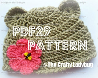 Beary easy bear hat pattern - for boys and girls - newborn to 4T sizes - PDF29