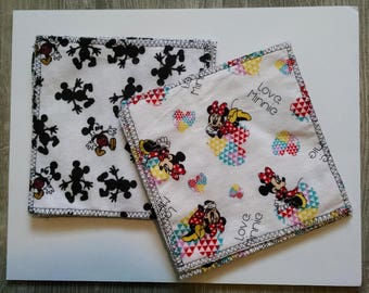 Cloth Wipes Mickey and Minnie Mouse, baby wipes, handkerchief, unpaper napkin, reusable wipe, kitchen cloth, wash cloth