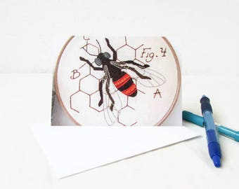 Blank notecards, hand embroidery art note cards, blank thank you cards stationery, insect card notecards with envelope, handmade in the UK
