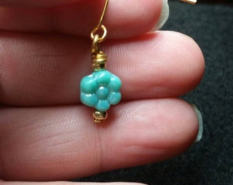 Dainty Aqua Flower Bead with Gold Plated beads and Earwire hook light weight Dainty spring Flowers