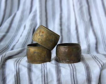 Antique Brass Napkin Rings (Set of 3)