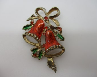 Gold Tone Enameled Bells and Holly Brooch/Pin