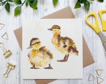 Easter Duckling Illustration Card, British Countryside and Wildlife, Blank Greeting Card