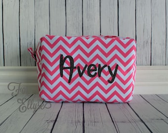 DARK PINK Chevron Cosmetic Bag - Personalized or Monogrammed