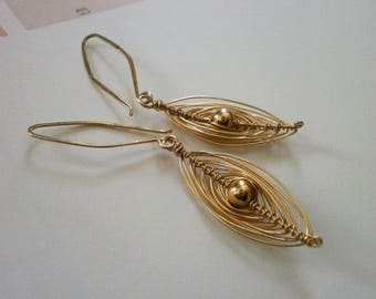 Delicate Gold Wire Wrapped Oval Marquise Earrings Small 14k Gold Fill Dangles Woven Wire Herringbone Earrings Wire Jewelry
