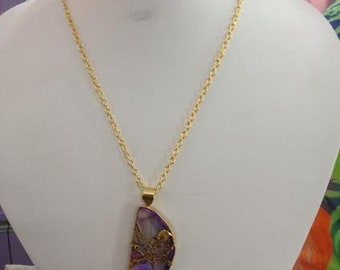 Purple Chalcedony Pendant with Gold Plated chain