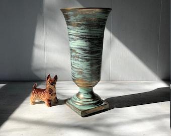 Vintage Vase Blue & Gold Grecian Urn Vase Tall Pottery Vase