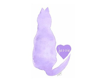 Cat Memorial, Pet Loss Gift, Pet Memorial, Sympathy Gift, Cat Condolence, Cat Memorial Gift, Personalized Cat Art, Cat Loss Gift, 5x7
