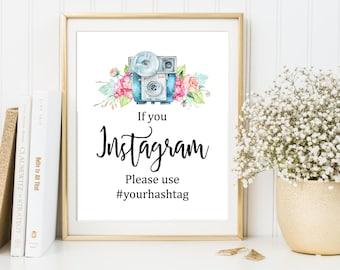 Printable Instagram Sign, Wedding Instagram Sign, Hashtag Sign, Vintage Camera Instagram Sign, Shower Printable Sign, DIY Sign Download