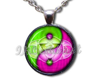 Yin Yang Symbol Lime Green and Fuchsia Glass Dome Pendant or with Chain Link Necklace SM210