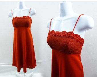 Vintage 70s Dress Size S M Terracotta Orange Jersey Disco Vtg 60s Strappy Empire